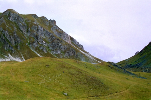 Compass_Bussola- 1993. stone. Valcavera Pass, Cozie Alps, Italy